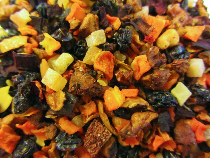 Früchtetee Marzipan Pflaume Papaya Karotte Rote Beete